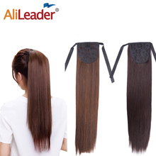 """Alileader Black Brown Long Straight Ponytail Clip In Hair Extension Fake Pony Tail Wrap Around 18"""" Synthetic Hair"""