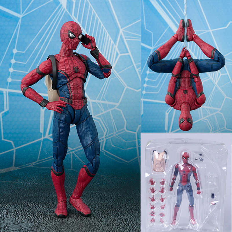 Single Sale Spider-Man Homecoming SHF Movie 15cm Spiderman Super Hero Action Figure Kids Diy Toys For Children Gift Model Toy