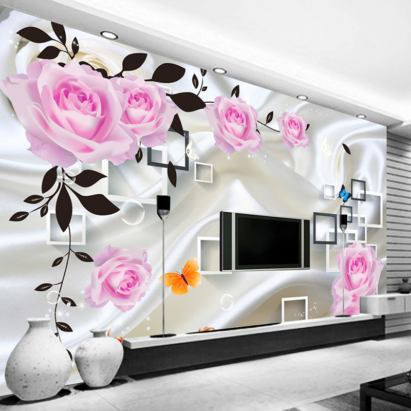 Custom Photo Wallpaper For Bedroom Walls 3D Silk Cloth Living Room TV Background Wall Home Decor Rose Flower Mural Wallpaper simple striped lines modern wall papers home decor wallpaper for living room bedroom tv sofa background wallpaper for walls 3 d