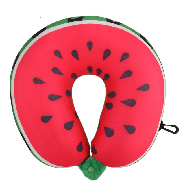 New Fruit U Shaped Car Travel Pillow Cushion Protection Neck Pillow for Travel Nanoparticles Massage Soft 3D Cushion 4