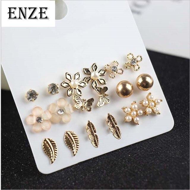 ENZE Miễn Phí Vận Chuyển Phụ Nữ của Đồ Trang Sức 9 cái/bộ của tổng hợp ngọc trai hoa bướm bông tai kết hợp đơn giản cá tính