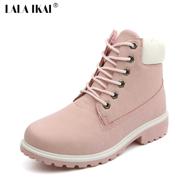 ... LALA IKAI 2018 г. розовые женские ботинки из нубука, повседневные  ботильоны на шнуровке ... 5f455e3e41f