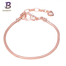 7e40e4b4d BAOPON Silver Plated Lobster Clasp Rose Gold Snake Chain Charm Heart Pandora  Bracelets & Bangles For European Beads Jewelry DIY