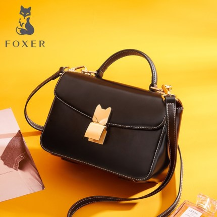 FOXER Brand Women's Split Leather Crossbody Bag & Messenger Bag & Shoulder Bag Lady Handbag Fashion Small Flap Shoulder Bag foxer women s split leather handbag female new fashion shoulder bag ladies versatile crossbody bag small flap bag for girl