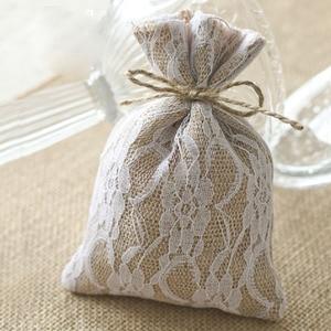 """Image 2 - Laço hessian presente cordão bolsa 10x15cm(4 """"x 6"""") pacote de 50 sacos de embalagem de serapilheira saco"""