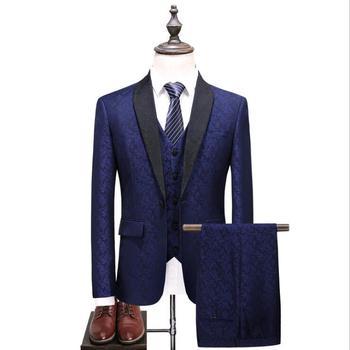 Large Size S-5XL Suits for Men (jacket+vest+trousers) England Style Jacquard Suit Set Dress Slim Wedding Tuxedo Formal Clothes