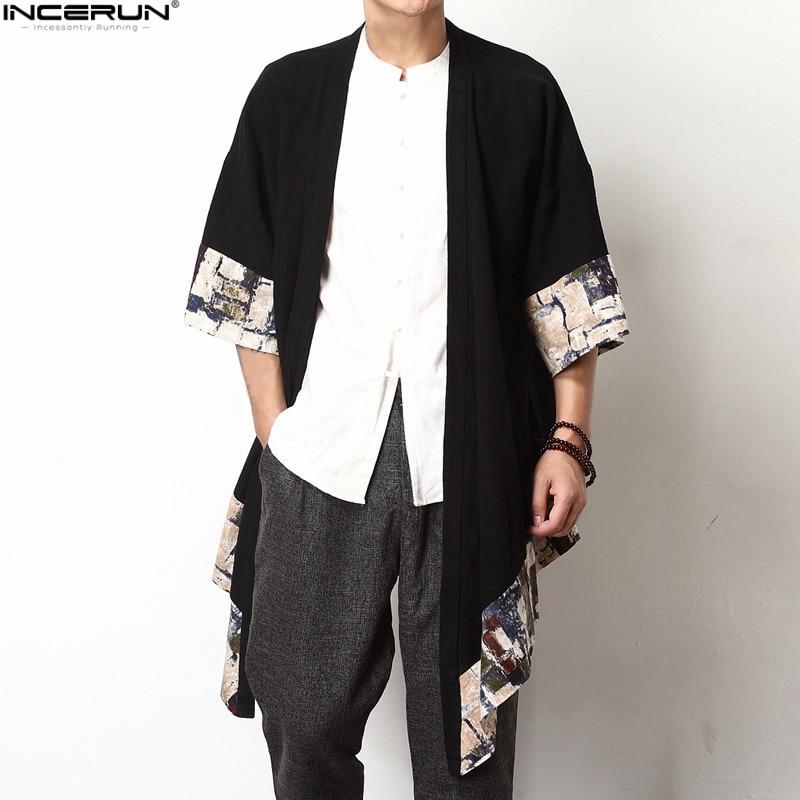 2018 Plus Size Fashion Men Long Outwear Shirts Half Sleeve Irregular Chinese Style Retro Male Cloak Coats Stylish Casual Trench 1