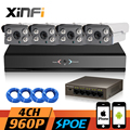 XINFI 4CH POE CCTV System 1080P NVR Network Video Recorder 960P Home Security poe Camera indoor/outdoor camera System CCTV kit