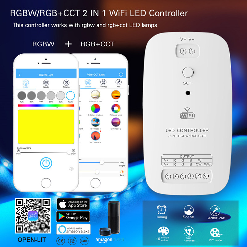 RGBW RGB+CCT 2 In 1 Smart LED Wifi Controller Strip Light Controller Compatible With Alexa Assistant For An IOS System Free Ship