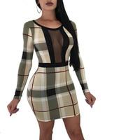 Women Denim Dress 2019 Summer High Waist Long Sleeve Plaid Mesh Print Bandage Dress Jeans Plus Size