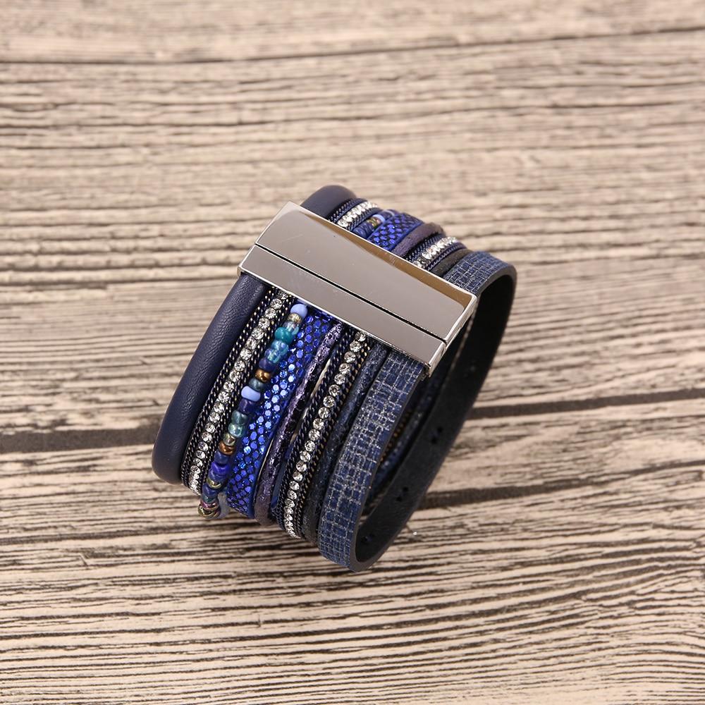 STRATHSPEY New Rhinestone Wide Magnetic Leather bracelets&bangles - Fashion Jewelry - Photo 5