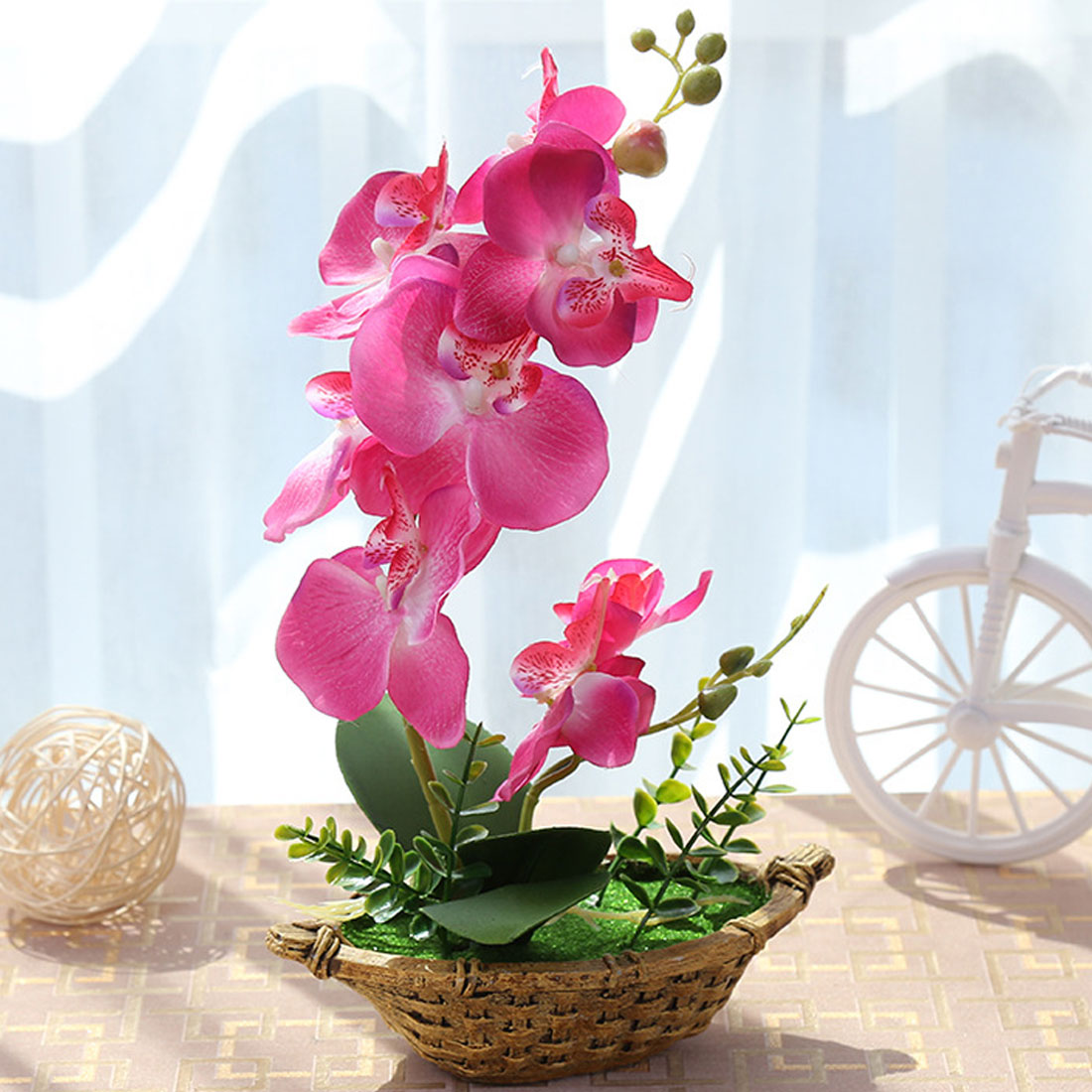 2018 Party supplies Artificial flower + Vase Butterfly Orchid Flower Real Touch leaves Artificial Plants Overall Floral