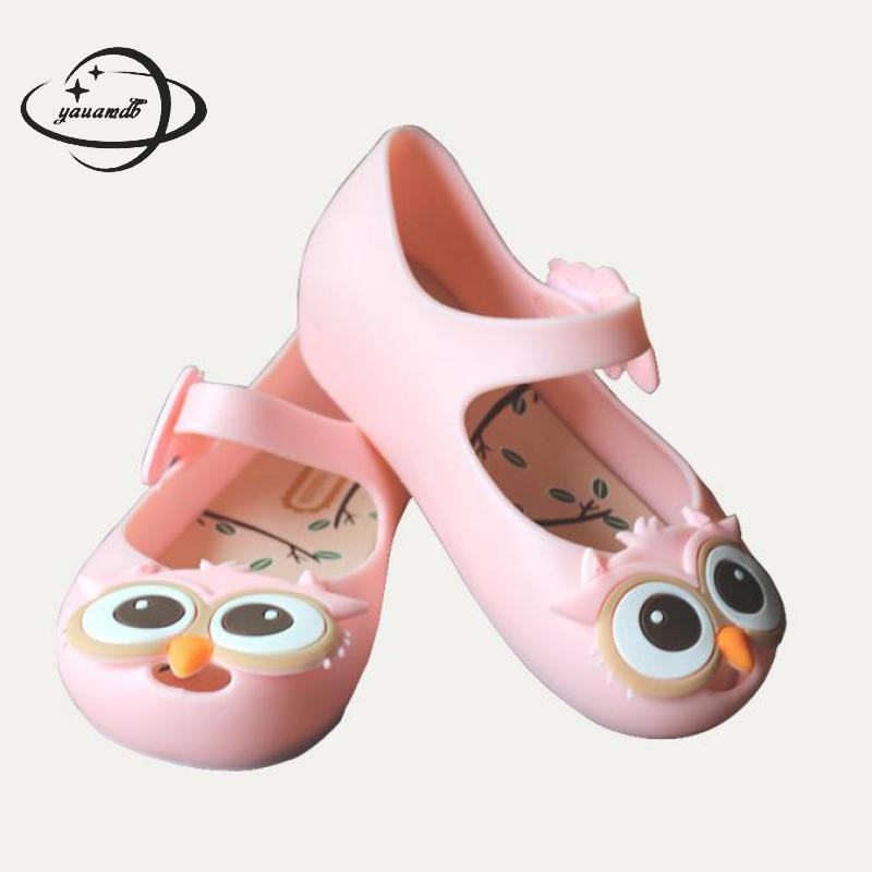 YAUAMDB kids mules & clogs summer PVC girls flat jelly sandals cartoon owl breathable soft bottom hollow children shoes ly25