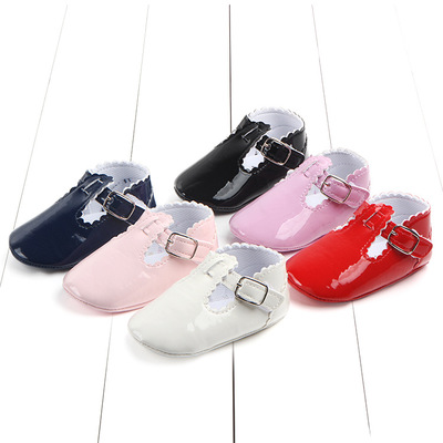 Fashion Baby Girl T-bar Ballet Princess Shoes First Walker PU Leather Baby Moccasins Shoes Soft Sole Baby Crib Shoes Toddler