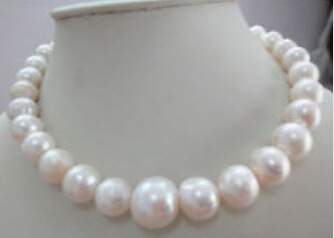 "free shipping  HUGE 18""12-15MM NATURAL AUSTRALIAN SOUTH SEA GENUINE WHITE NUCLEAR PEARL NECKLACE"