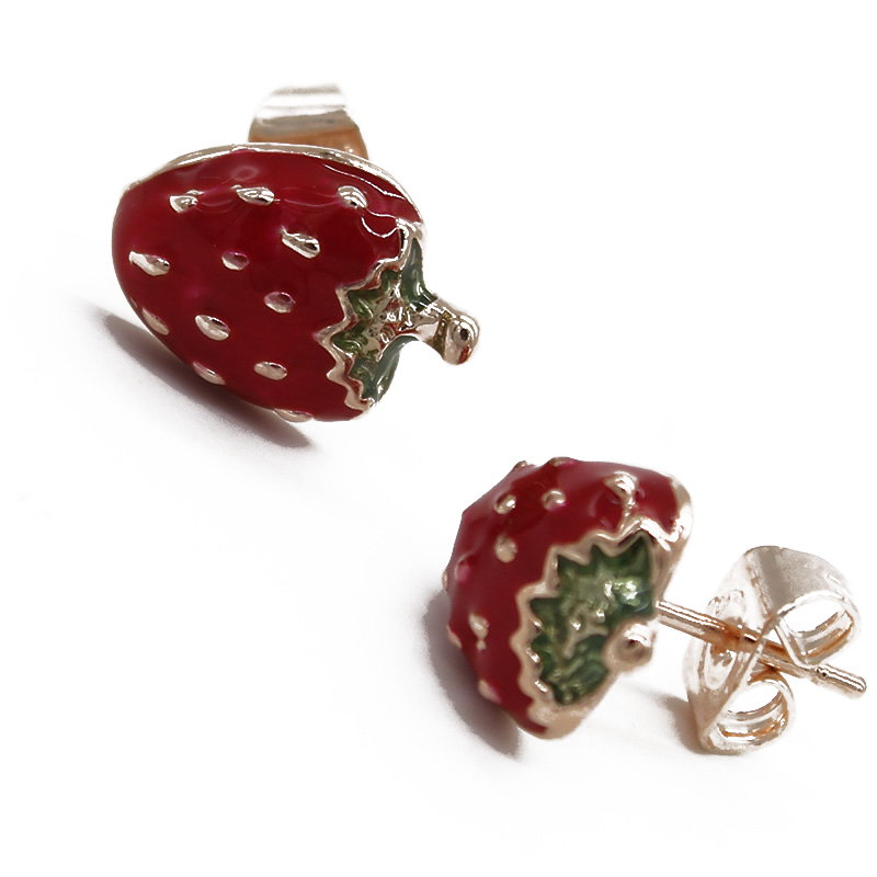 uk silver strawberry enamel stud jewellerybox earrings sterling co har product