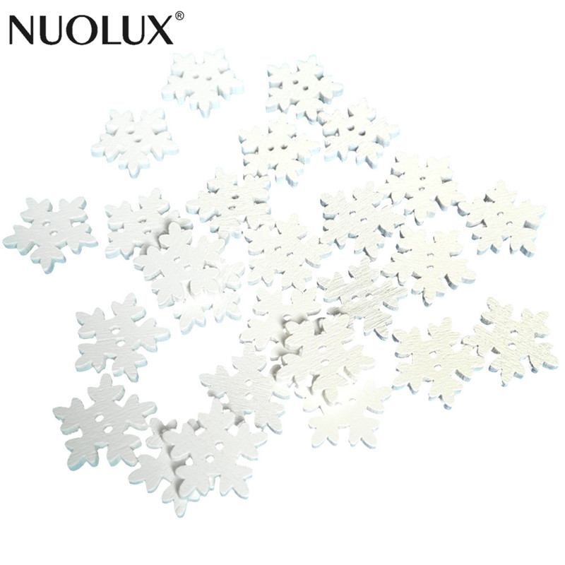 Buttons 50pcs Christmas Holiday Wooden Collection Snowflakes Buttons Snowflakes Embellishments 18mm Creative Decoration