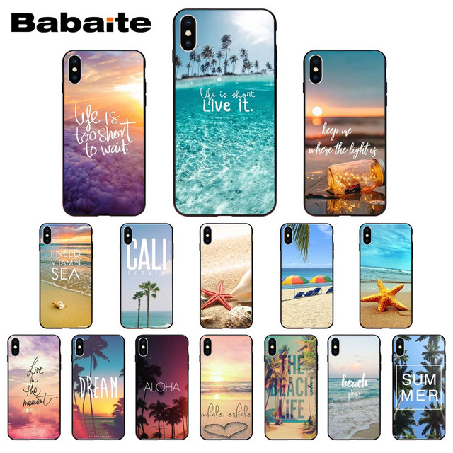 summer beach starfish blue sky  Black TPU Soft Phone Case Cover for iphone X XS MAX 8 7 6S Plus 5S SE XR Cellphones Babaite