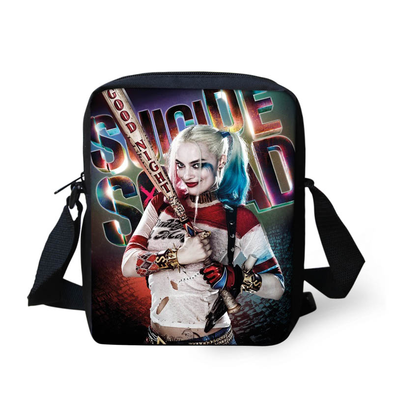 FORUDESIGNS Harley Quinn Suicide Squad Messenger Bags for Girls Funny Joker Shoulder bags Children Crossbody Bag Happy Satchels suicide squad harley quinn harleen quinzel high quality pu short wallet purse with button