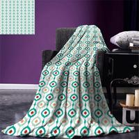 Ikat Throw Blanket Colorful Chain Pattern Abstract Geometric Peacock Tail Eastern Culture Soft Warm Blanket
