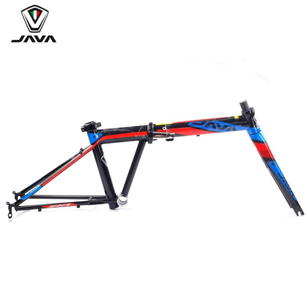 JAVA Folding Bike Frameset Chrome Steel Frame Carbon Fork Compatible with Caliper Brake Direct Mount V Brake 20 406 451 Frame carbon fiber 20 wheelsets 20h 24h 451 wheels rim v caliper brake for 20 folding bike minivelo recumbent bike 3k glossy matte