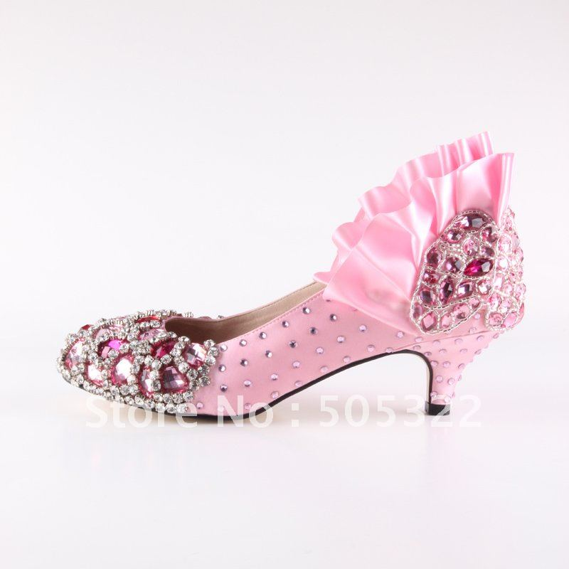 Pink Low Heel Wedding Shoes: JWS338 Free Shipping Women Comfortable Round Toe Pink Prom