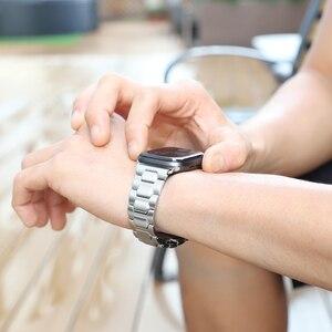 Image 5 - HOCO נירוסטה רצועת עבור אפל שעון סדרת 6 5 4 3 2 1 להקת מתכת פרפר אבזם צמיד עבור iWatch SE 42/44/38/40mm