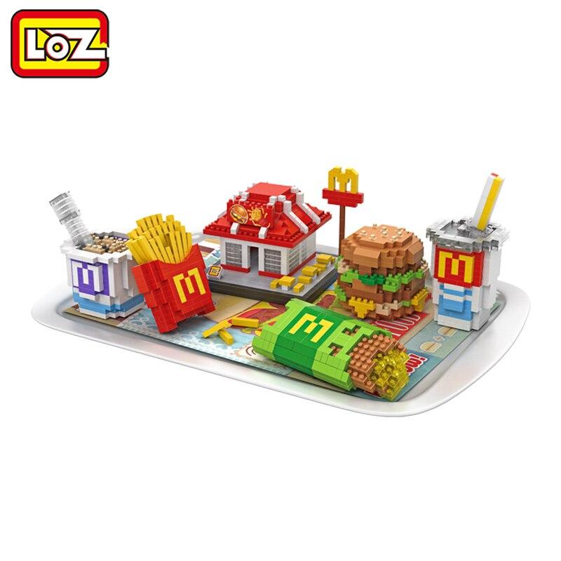 LOZ les blocs de Sushi japonais bricolage restauration rapide Hamburger Chips Milkshake éducatif pour enfant jouets pour adultes
