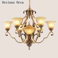 European retro golden chandelier living room dining room bedroom American idyllic LED resin Chandelier free shipping