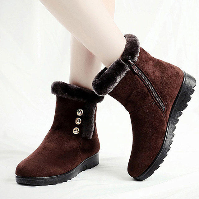 2f6afc1aa7 US $14.63 49% OFF|Winter Boots Women Fashion Waterproof Ankle Boots for  Women Wedges Platform Anti slip Zipper Warm Cotton Down Ladies Shoes-in  Ankle ...