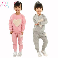 2015 Love Clothing Kids Girls Clothes Sets Baby Girl Long Sleeve Pant Set Children Love Sports