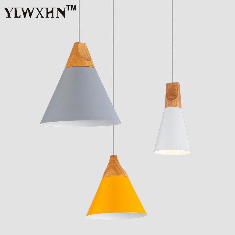 2018 Suspension Luminaire Modern Color Hanging Lamps Restaurants Cafes Nordic Pendel Leuchten Solid Wood + Lamp Holder Pendant