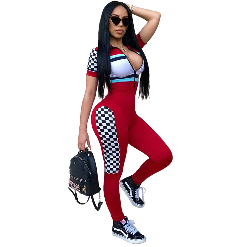 Europe US New Fashion lady sexy casual Jumpsuits Plaid printing red white stitching color one piece Rompers Zipper V neck slim
