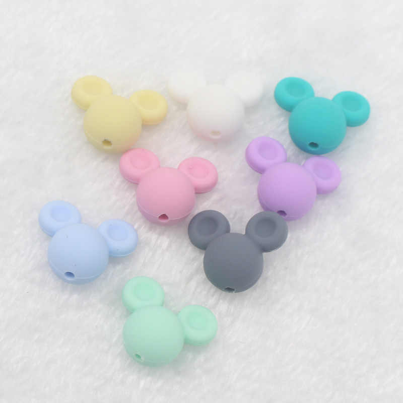 Wholesale 1PCS Mouse Head Baby Teething Beads Cartoon Silicone Beads for Necklaces Free Teether Toy Accessories Nursing DIY