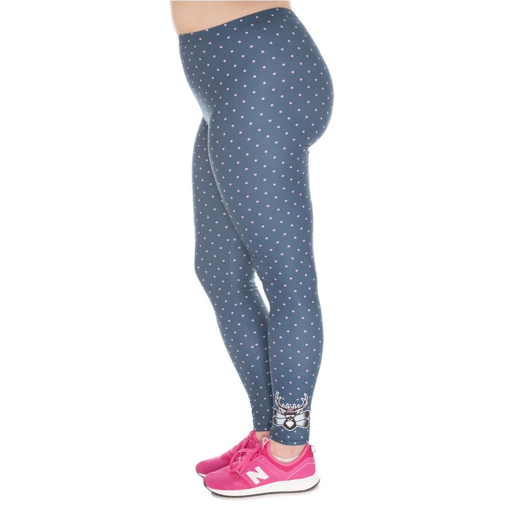 Large Size   Leggings   Freeride Deer Printed High Waist Leggins Plus Size Trousers Stretch Pants For Plump Women