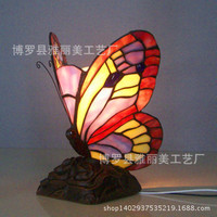 butterfly Mediterranean table Lamps E27 Stained Glass Lampshade Bedroom Bedside Vintage Table Lamp Light Fixtures