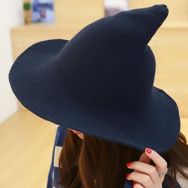 Women Autumn Winter Bucket Hat Wool Felt Witch Costume Tall Fedora Solid  Color Knit Cap f91fad66702