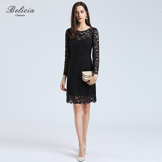 Belicia Couture Women Lace Cocktail Dresses Round Neck A Line Black Long  Sleeves Wedding Party Formal 105e12ebe6e1
