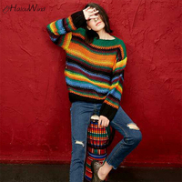 Colorful Striped Rainbow Sweater Long Sleeve Round Neck Pastel Rainbow Sweater Pullovers Women Outerwear Autumn Ladies Sweaters