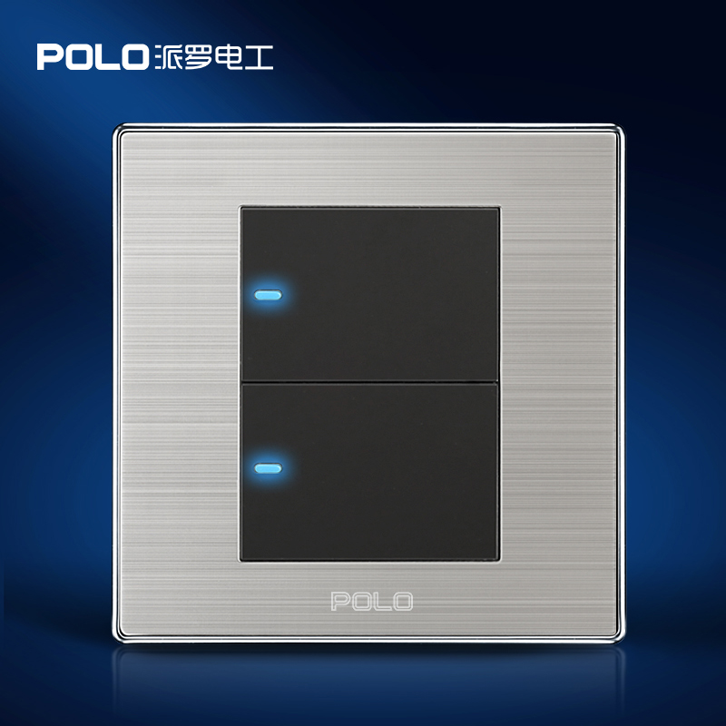 Free Shipping, POLO Luxury Wall Light Switch Panel, 2 Gang 1 Way, Champagne/Black, Push Button LED Switch, 16A, 110~250V, 220V 100pcs lot fluorescence colored hair band holders rubber bands elastics hair accessories girl women hair ties gum page 6