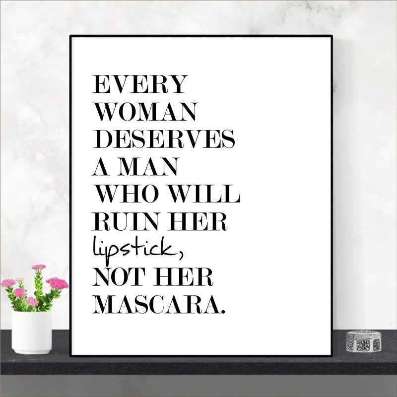 Makeup Penawaran Lipstik Dinding Art Poster Cetakan Fashion Beauty Lipstik Lukisan Hitam Putih Dinding Gambar Rumah Dekorasi Kamar