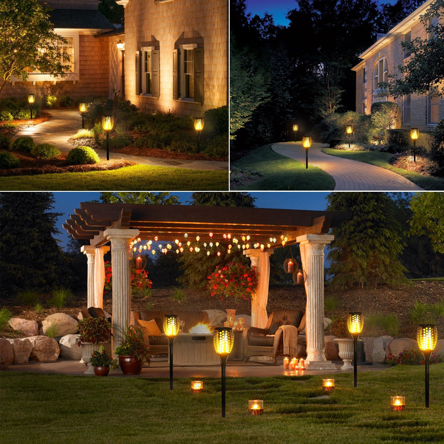 Led Solar Flame Flickering Lawn Lamps Led Torch Light
