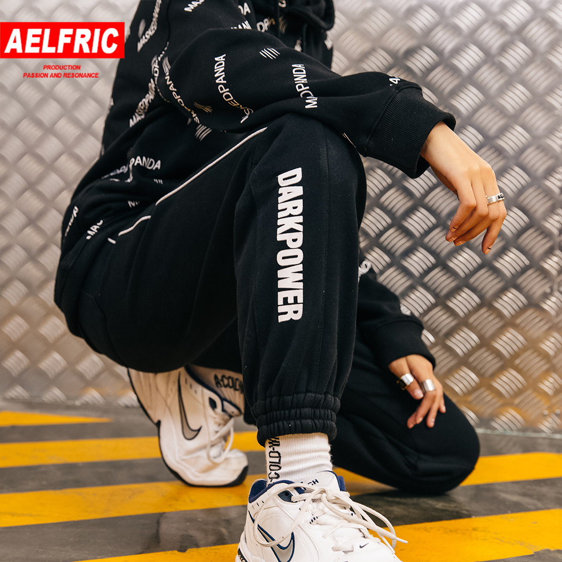 Honest Aelfric New Winter Fashion Pants Women Clothing Side Track Letter Printed Trousers Casual Cotton Fleece Elastic Swear Pants Mp04