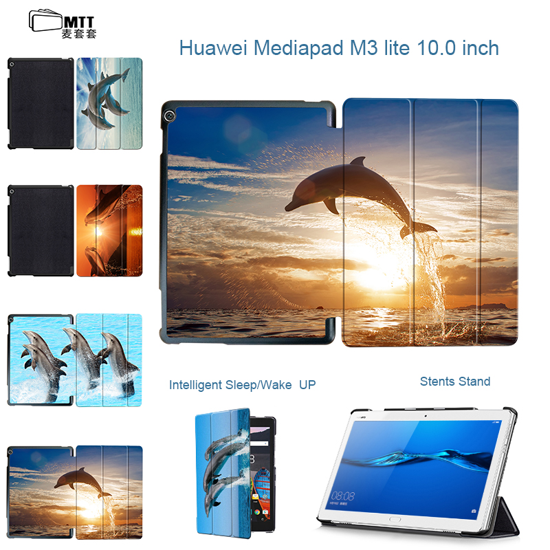 MTT Dolphin Trifold Case for Huawei MediaPad M3 Lite 10 BAH-W09 BAH-AL00 Tablet Stand PU Leather Cover for Huawei M3 Lite 10.1'' smart ultra stand cover case for 2017 huawei mediapad m3 lite 10 tablet for bah w09 bah al00 10 tablet free gift