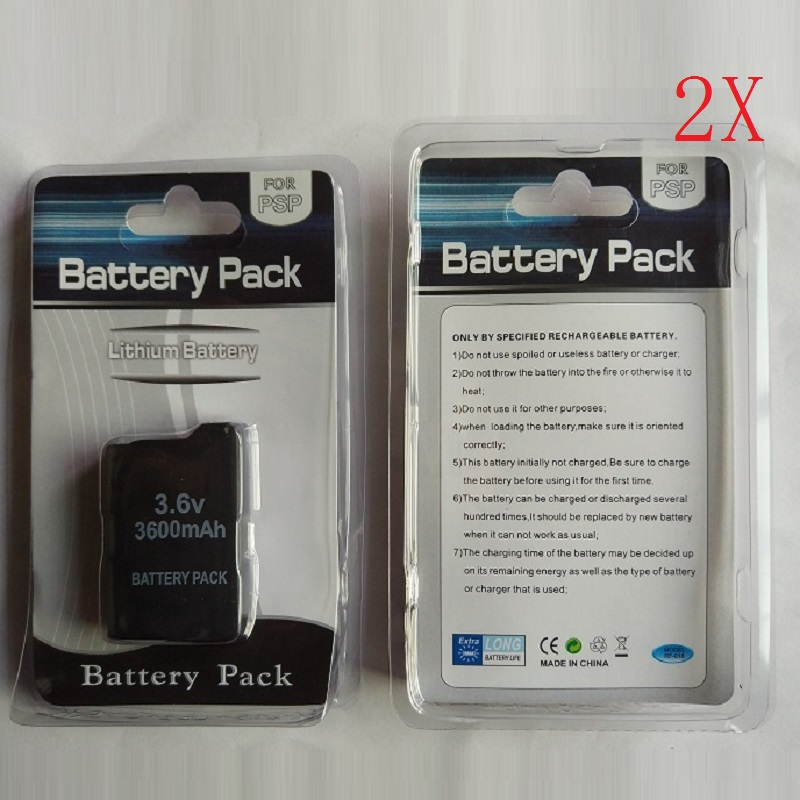 2 x 3600mAh Battery Pack for Sony PSP1000 PSP 1000 PlayStation Portable Li Ion Lithium Rechargeable