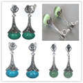 4 estilos 925 prata NATURAL 10 MM verde JADE / opala / contas de turquesa azul turquesa marcassita brincos