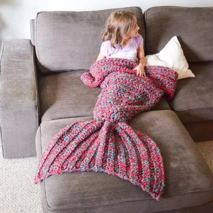 New Soft Warm Handmade Mermaid Tail Fleece Blanket Lap Throw Bed Wrap Fin Warm Cocoon Costume Girls Kids Children Sleeping Bag