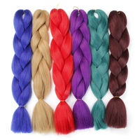 ombre braiding hair extension 6 pieces/lot crochet hair braid green Blue purple big jumbo braid bulk synthetic hair