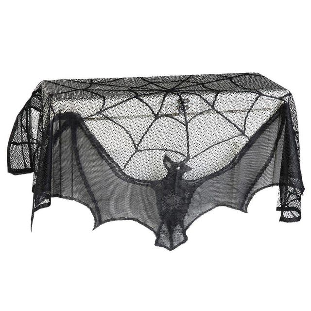 New Mantle Scarf Black Lace Bat Spiderweb Fireplace Cover Festive Party Supplies Halloween Decoration XH8Z JY19