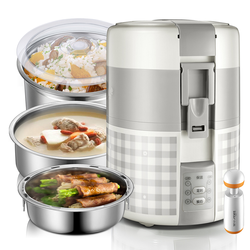 220V Portable Electric Lunch Box Stainless Steel Three layer Insulated Lunch Heating Box 2L Rice Cooker